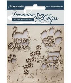 FORMES CARTON DECORATIVE CHIPS CATS 14X14CM - SCB26