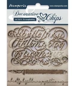 FORMES CARTON DECORATIVE CHIPS ALPHABET 14X14CM - SCB27