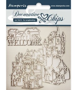 FORMES CARTON DECORATIVE CHIPS WELCOME 14X14CM - SCB31