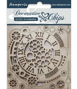 FORMES CARTON DECORATIVE CHIPS GEARS AND CLOCKS 14X14CM - SCB33