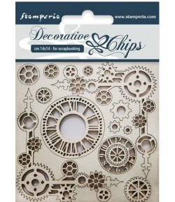 FORMES CARTON DECORATIVE CHIPS CLOCK AND CORNERS 14X14CM - SCB37