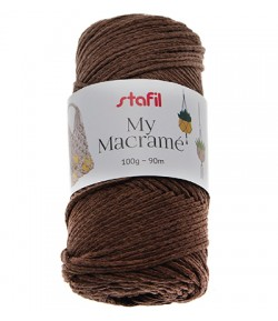 CORDON MACRAME MARRON FONCE  4 MM - 100 GR