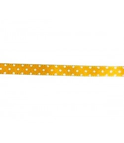 RUBAN POIS JAUNE D'OR 10MM - 1M