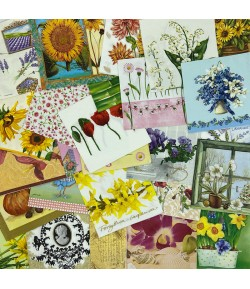 LOT DE 30 SERVIETTES THEME FLEURS - 05
