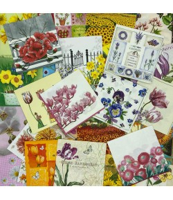 LOT DE 30 SERVIETTES THEME FLEURS - 09