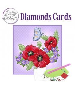 MINI KIT CARTE DIAMONDS RED FLOWERS 15X15CM
