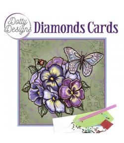 MINI KIT CARTE DIAMONDS PURPLE FLOWERS 15X15CM