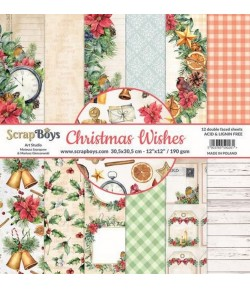 BLOC 12 FEUILLES 30.5 X 30.5 CM -  CHRISTMAS WISHES