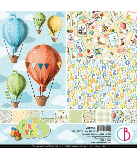 BLOC 8 FEUILLES MY FIRST YEAR PATTERNS CIAO BELLA 30X30CM CBT042