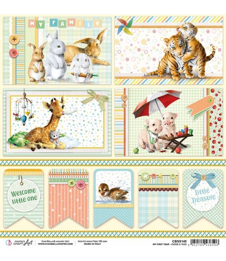 PAPIER MY FIRST YEAR CARDS & TAGS  CIAO BELLA 30.5X30.5CM CBSS145