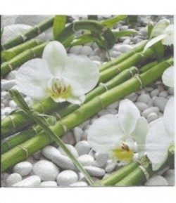 SERVIETTE ORCHIDEES BLANCHES