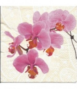 SERVIETTE BRANCHES ORCHIDEES