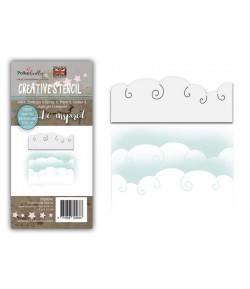 POCHOIR SNOW CLOUDS - POLKADOODLES - PD8096