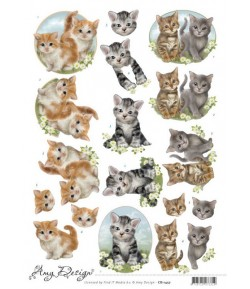FEUILLE 3D CHATONS - CD11457