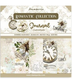 BLOC 10 FEUILLES ROMANTIC JOURNAL 20.3X20.3CM - SBBS34 STAMPERIA