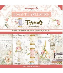 BLOC 10 FEUILLES ROMANTIC THREADS 20.3X20.3CM - SBBS36 STAMPERIA