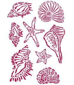 POCHOIR ROMANTIC SEA DREAM COQUILLAGES 21X29.7CM KSG463