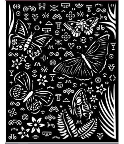 POCHOIR AMAZONIA ANIMAL PAPILLONS 20X25 EP 0.25 KSTD064 STAMPERIA