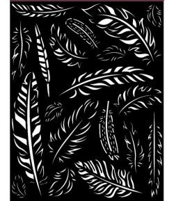 POCHOIR AMAZONIA PLUMES 20X25 EP 0.25 KSTD066 STAMPERIA