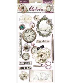 CHIPBOARD ROMANTIC MY JOURNAL 15X30 - DFLCB26 STAMPERIA
