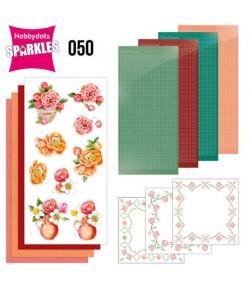 KIT 3D DOT SPARKLES ORANGE FLOWERS - SPDO050