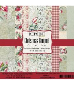 BLOC 10 FEUILLES 20 X 20 CM -  CHRISTMAS BOUQUET - REPRINT