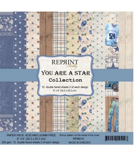 BLOC 10 FEUILLES 20 X 20 CM -  YOU ARE A STAR - REPRINT