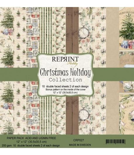 BLOC 10 FEUILLES 30 X 30 CM -  CHRISTMAS HOLIDAY - REPRINT