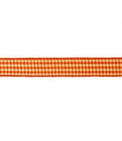 RUBAN VICHY ORANGE 10MM - 1 M