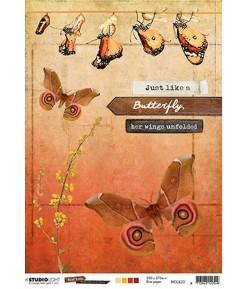 PAPIER DE RIZ A4  PAPILLONS  21 X 29.7 - STUDIOLIGHT