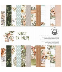 BLOC 12 FEUILLES 30.5 X 30.5 CM - FOREST TEA PARTY - PIATEK