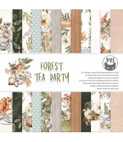 BLOC 24 FEUILLES 15 X 15 CM - FOREST TEA PARTY - PIATEK