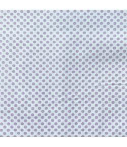 TISSU BLANC A POIS MAUVES - 10 X 160 CM