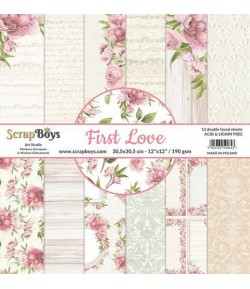 BLOC 12 FEUILLES 30.5 X 30.5 CM -  FIRST LOVE