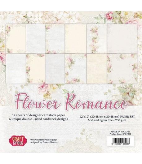 BLOC 12 FEUILLES 30.5 X 30.5 CM - FLOWER ROMANCE