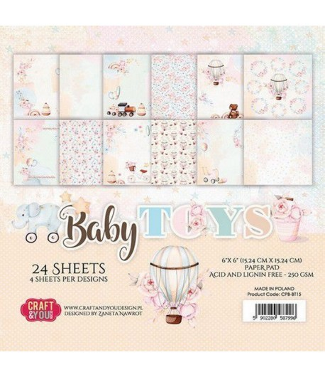 BLOC 24 FEUILLES 15 X 15 CM -  BABY TOYS