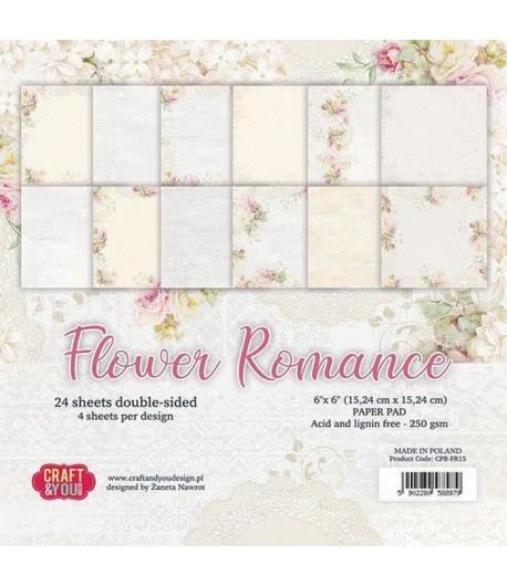 BLOC 24 FEUILLES 15 X 15 CM -  FLOWER ROMANCE