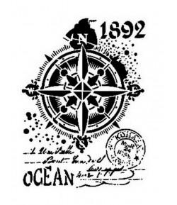 POCHOIR A4 MIXED MEDIA  - OCEAN COMPASS