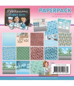 BLOC 23 FEUILLES 15 X 15 CM - BUBBLY GIRLS PROFESSIONS  YCPP10038