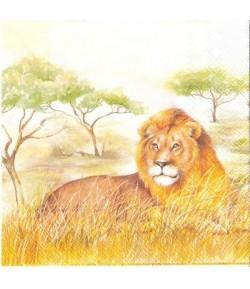SERVIETTE LION ET LIONNES