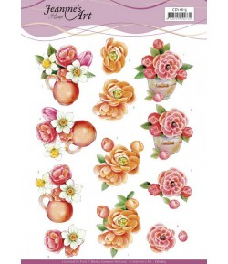 FEUILLE 3D ORANGE FLOWERS CD11615
