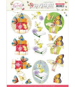 FEUILLE 3D BUTTERFLY TOUCH YELLOW - SB10546