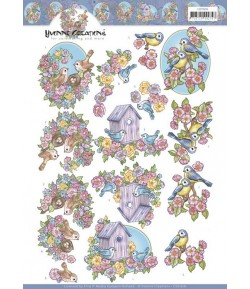 FEUILLE 3D FLOWERS AND BIRDS CD11616