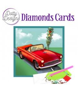 MINI KIT CARTE DIAMONDS VOITURE ROUGE 15X15CM DDDC1032