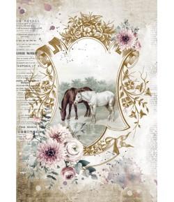 PAPIER DE RIZ A4 ROMANTIC HORSES - LAKE 21X29.7 - DFSA4582 - STAMPERIA