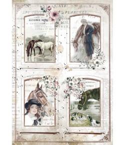 PAPIER DE RIZ A4 ROMANTIC HORSES - 4 FRAMES 21X29.7 - DFSA4583 - STAMPERIA