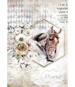 PAPIER DE RIZ A4 ROMANTIC HORSES - LADY FRAME 21X29.7 - DFSA4580 - STAMPERIA
