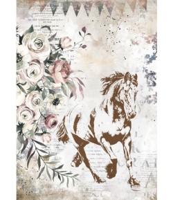 PAPIER DE RIZ A4 ROMANTIC HORSES - RUNNING HORSE 21X29.7 - DFSA4579 - STAMPERIA