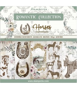 BLOC 10 FEUILLES ROMANTIC HORSES 20.3X20.3CM - SBBS39 STAMPERIA