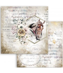 PAPIER ATELIER ROMANTIC HORSES LADY WITH HORSES 30X30CM - SBB800 - STAMPERIA
